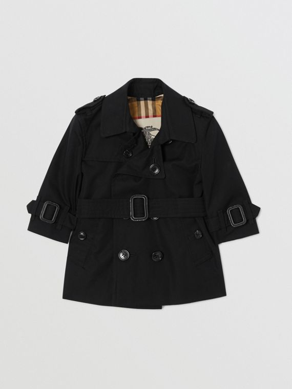 Cotton Gabardine Trench Coat in Black