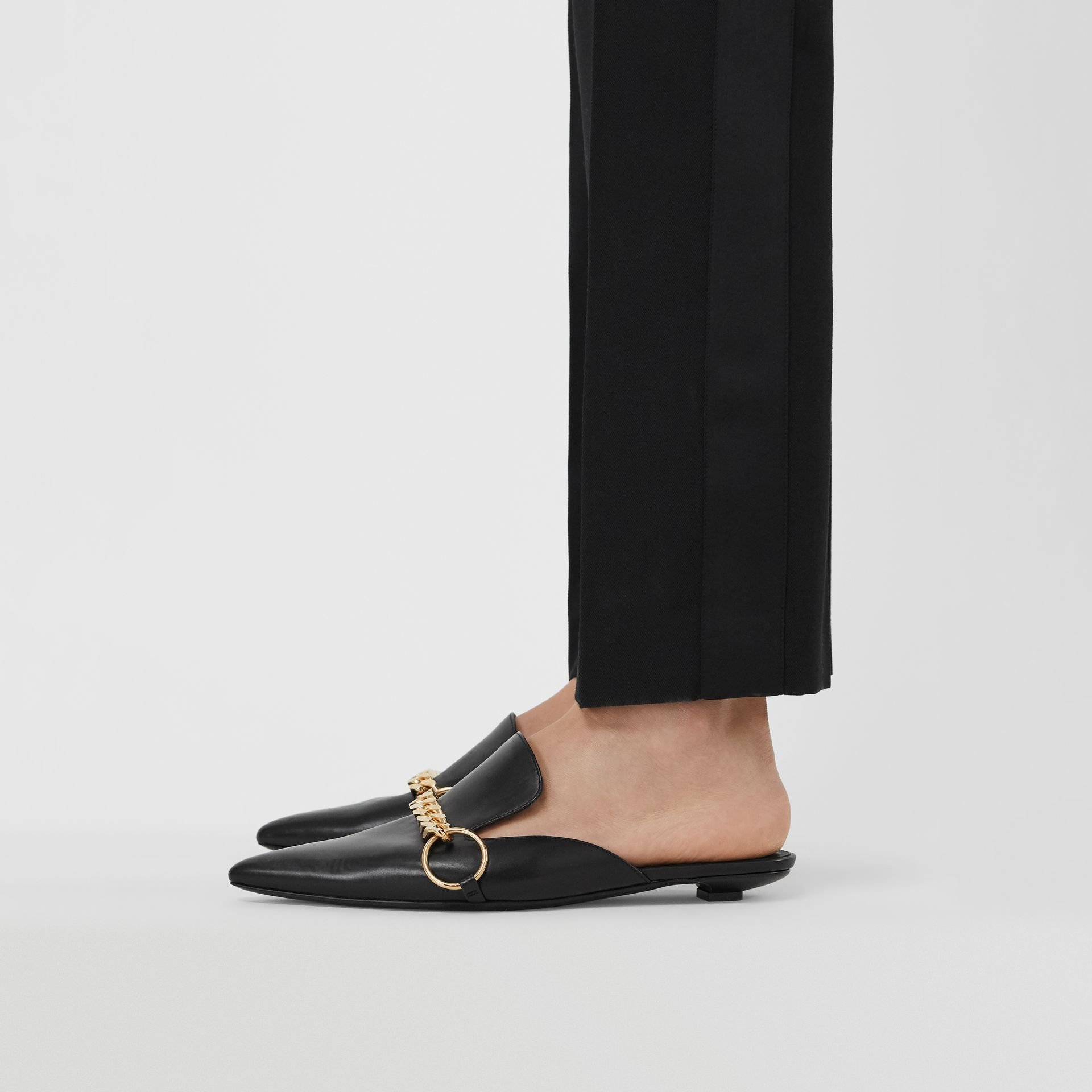 Chain Detail Leather Mules in Black - Women | Burberry - gallery image 2