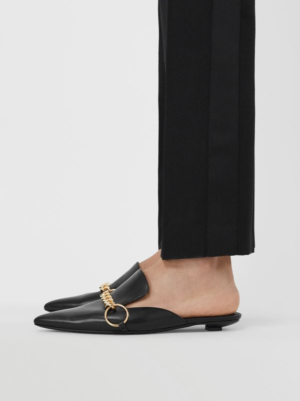 Chain Detail Leather Mules in Black - Women | Burberry - cell image 2