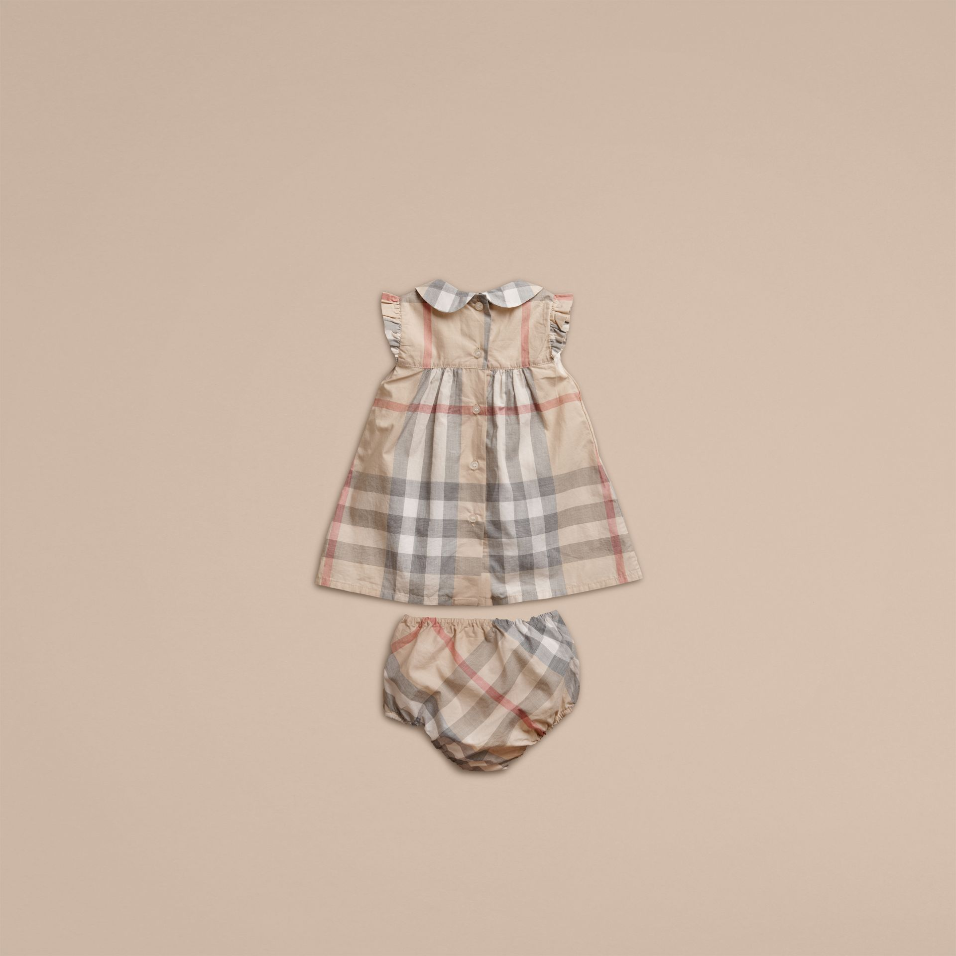 Washed Check Cotton Dress in Pale Classic - Girl | Burberry - gallery image 3