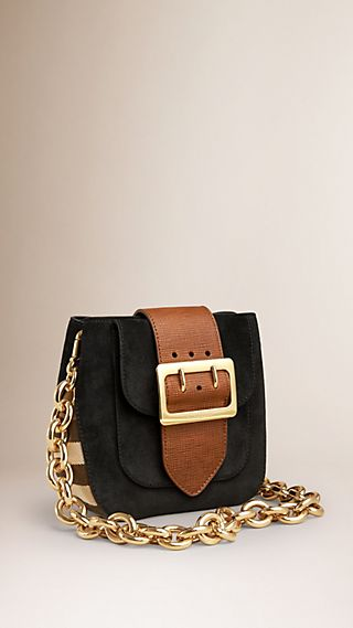 Sac The Belt carré en cuir velours anglais, avec motif House check