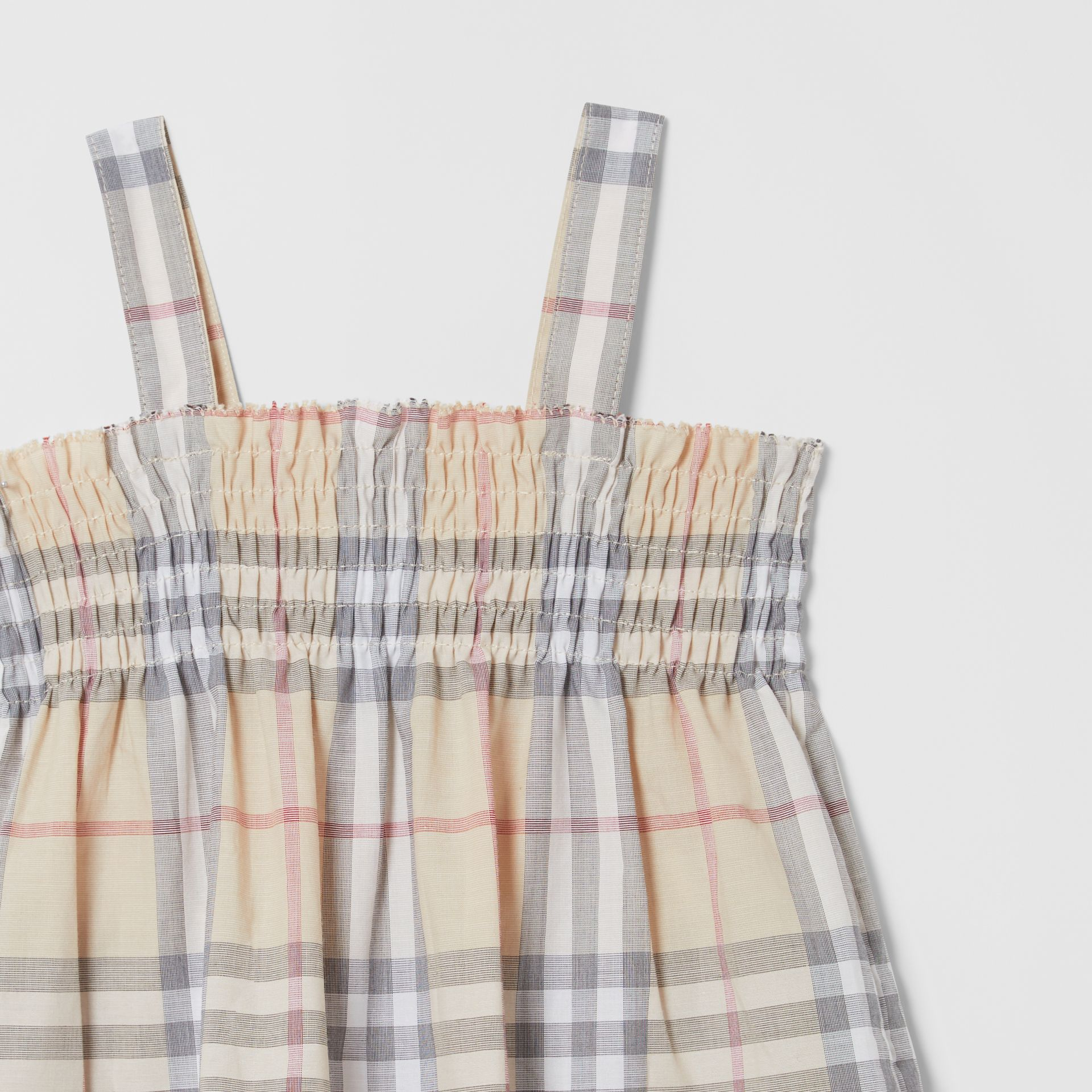 Smocked Check Cotton Dress with Bloomers in Pale Stone - Children | Burberry United Kingdom - gallery image 4