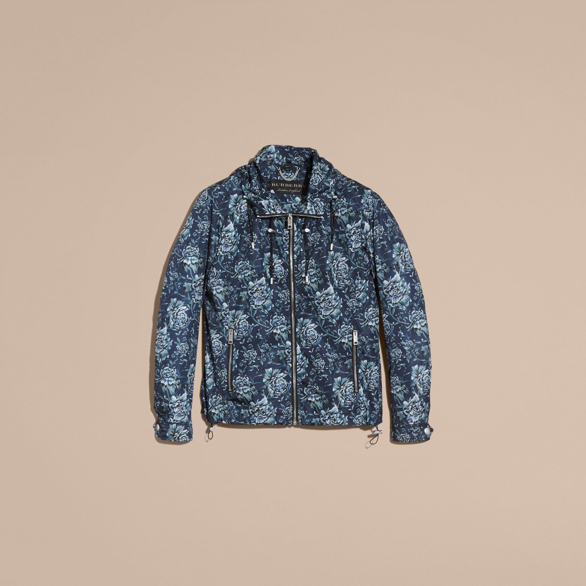 Ink blue Peony Rose Print Lightweight Jacket - gallery image 4