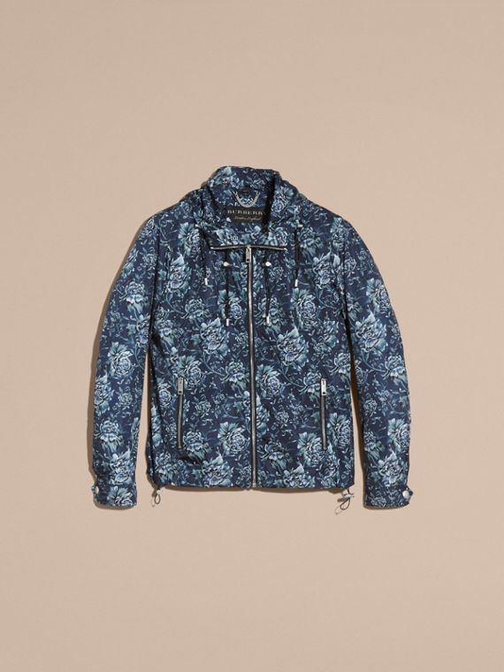Ink blue Peony Rose Print Lightweight Jacket - cell image 3