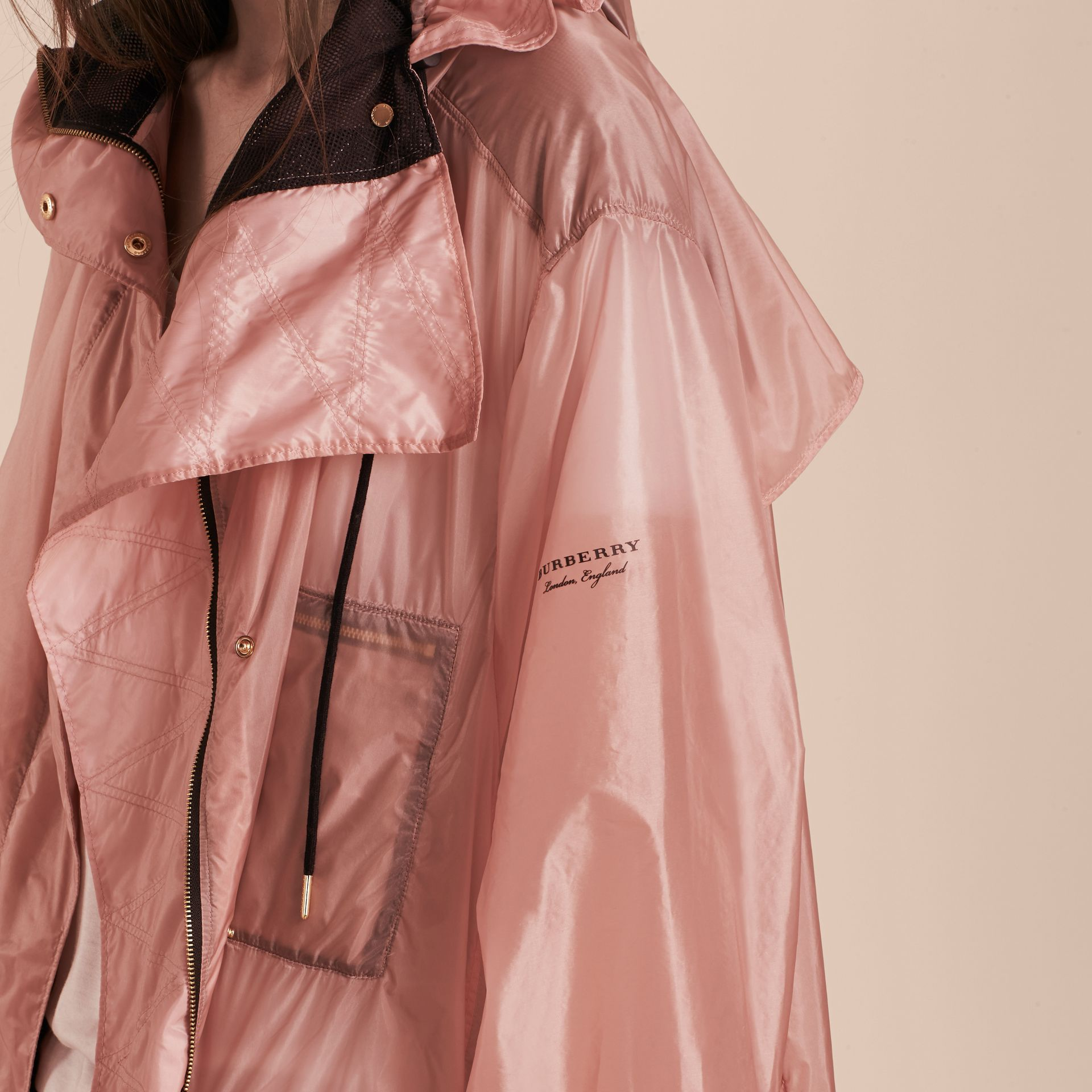 Hooded Lightweight Oversize Parka Ash Rose - gallery image 5