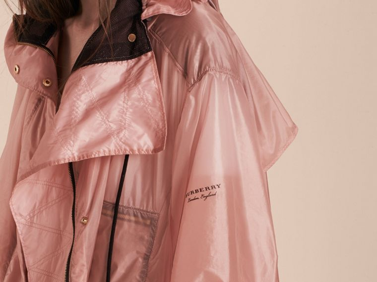 Hooded Lightweight Oversize Parka Ash Rose - cell image 4