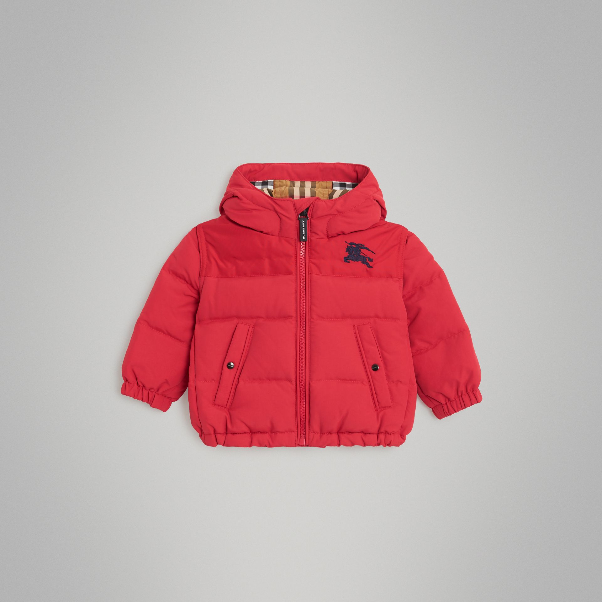 Down-filled Hooded Puffer Jacket in Bright Red - Children | Burberry Australia - gallery image 0