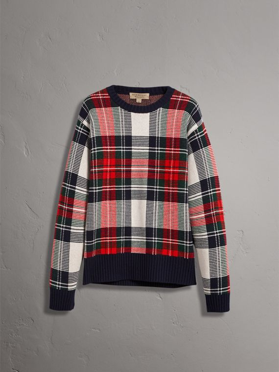 Tartan Cashmere Wool Sweater in Natural White - Men | Burberry - cell image 3