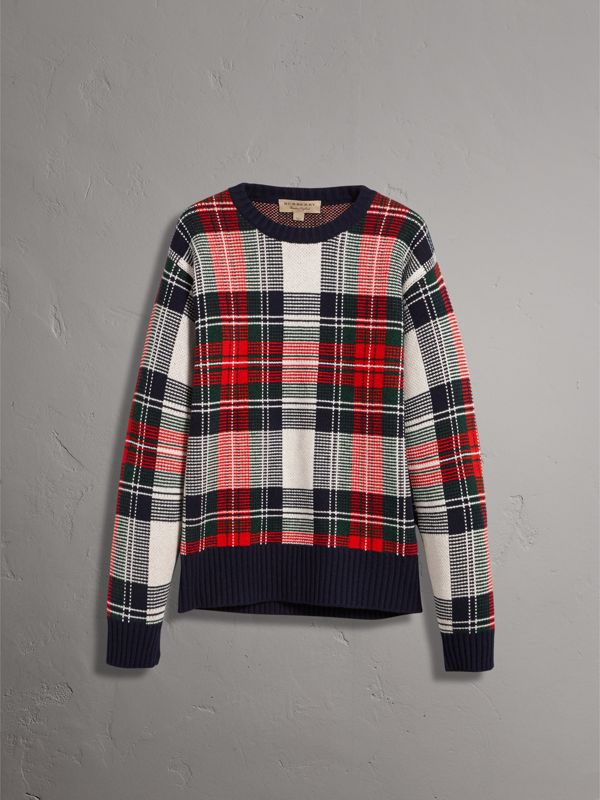 Tartan Cashmere Wool Sweater in Natural White - Men | Burberry United Kingdom - cell image 3