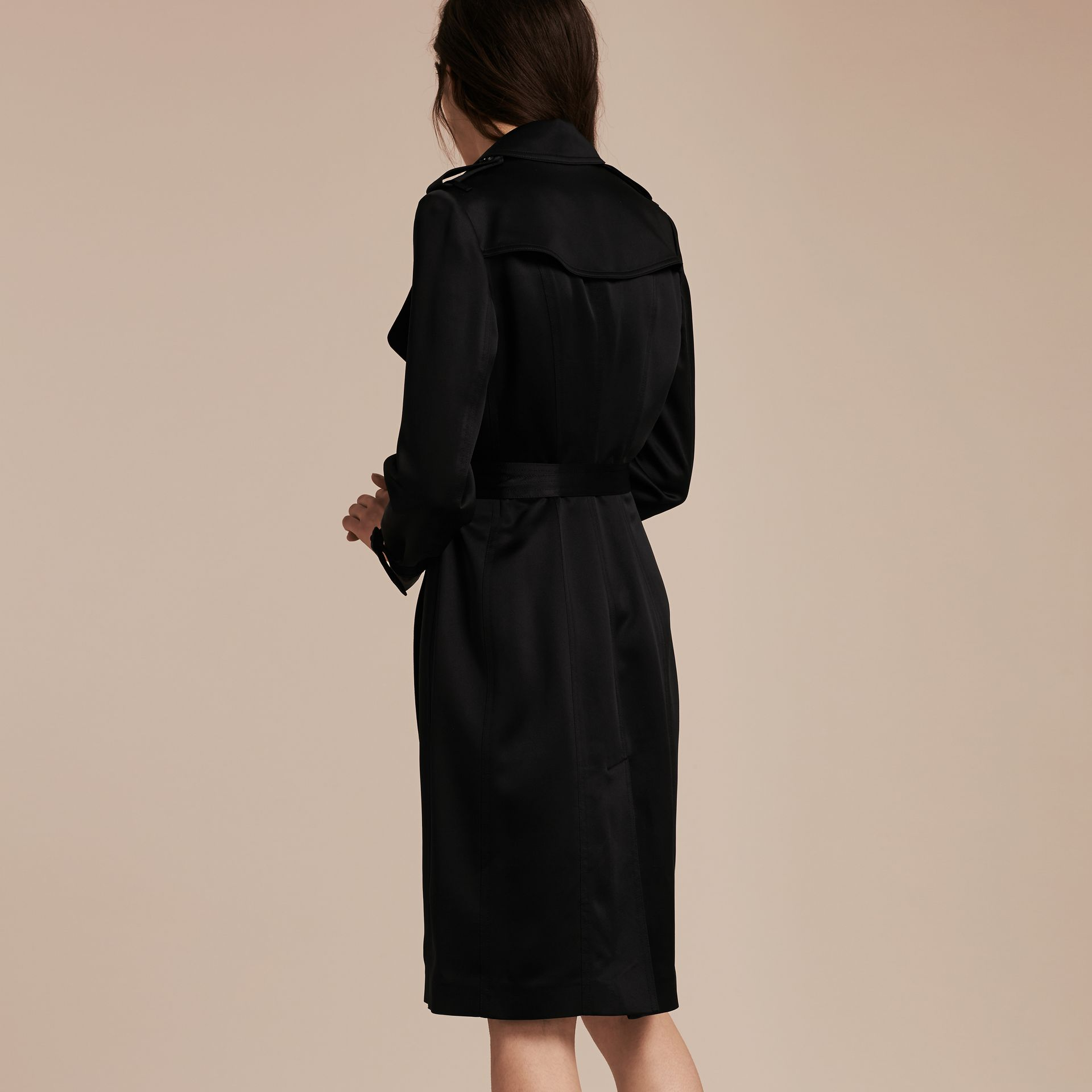 Black Silk Satin Wrap Trench Dress - gallery image 3
