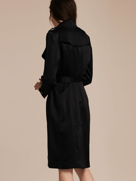 Black Silk Satin Wrap Trench Dress - cell image 2