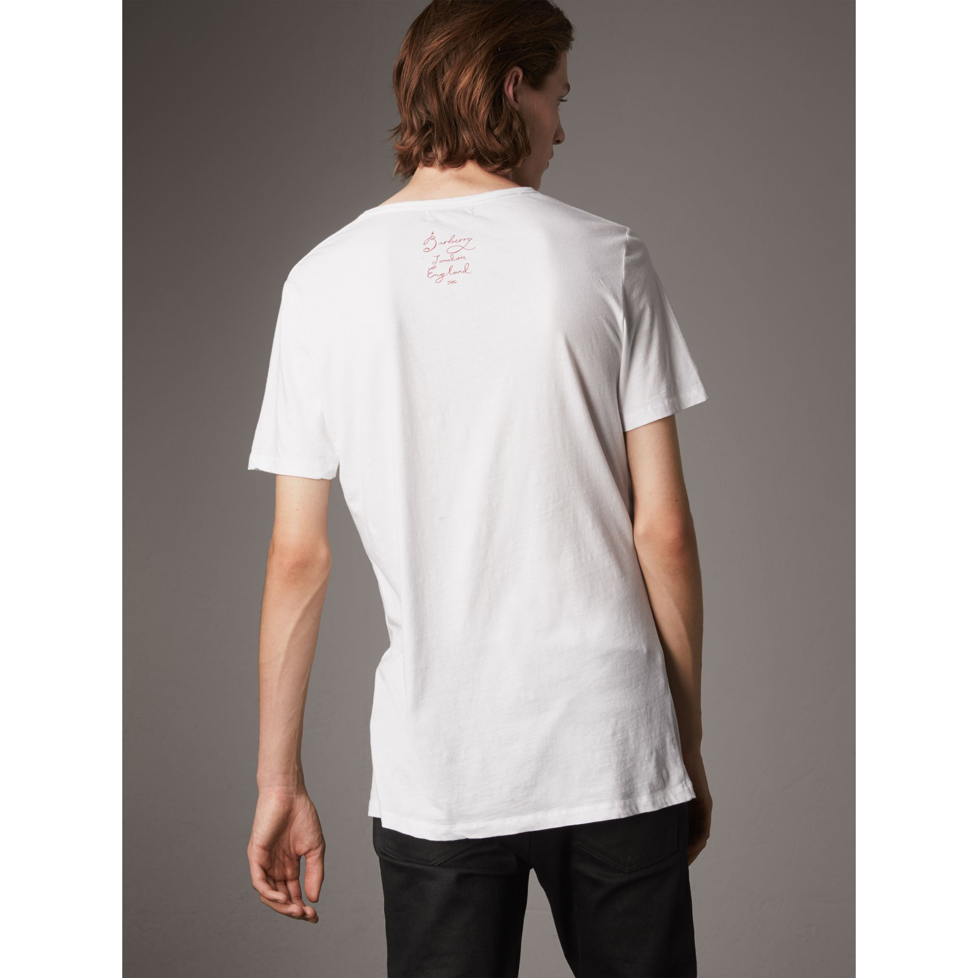 Castleford Print Cotton T-shirt in White - Men | Burberry - gallery image 3