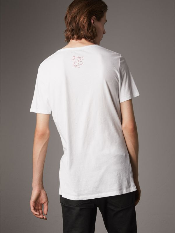 Castleford Print Cotton T-shirt in White - Men | Burberry - cell image 2