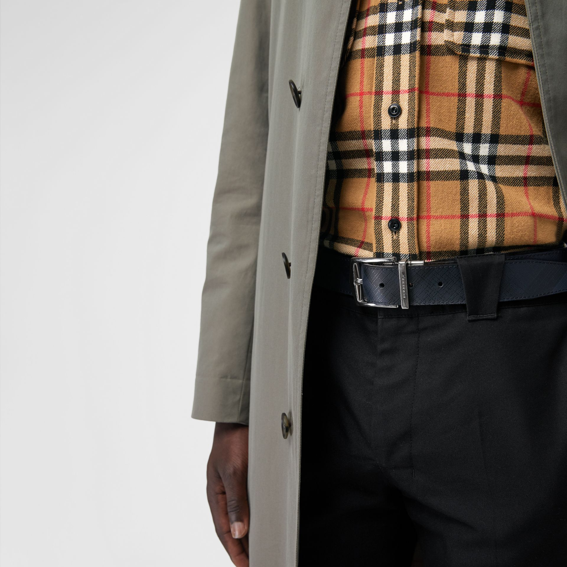 Reversible London Check and Leather Belt in Navy/black - Men | Burberry United States - gallery image 2