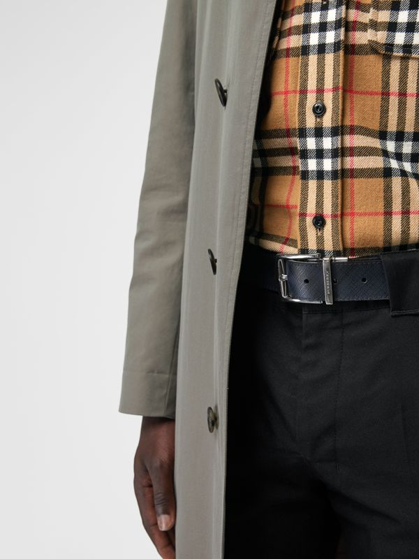 Reversible London Check and Leather Belt in Navy/black - Men | Burberry United States - cell image 2