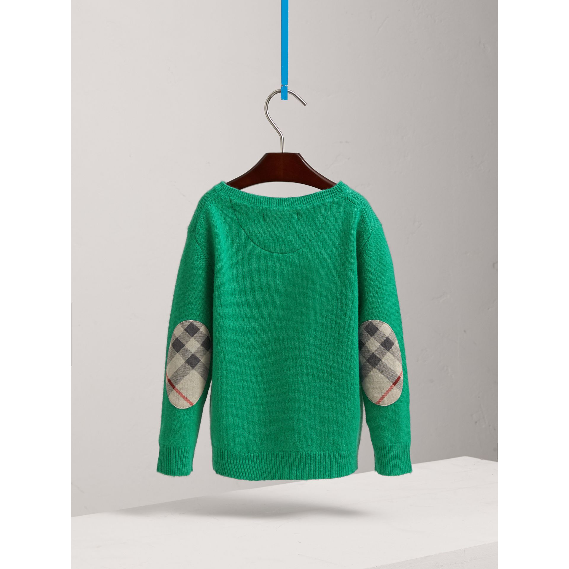 Check Elbow Patch Cashmere Sweater in Bright Green | Burberry - gallery image 3