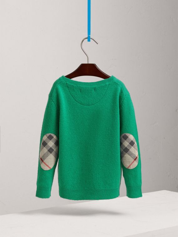 Check Elbow Patch Cashmere Sweater in Bright Green | Burberry - cell image 3