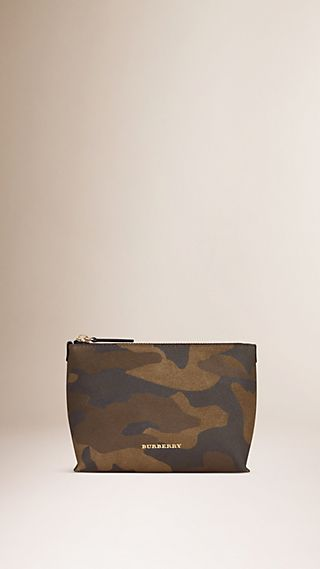 Medium Camouflage Print Suede Beauty Pouch