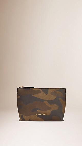 Trousse de maquillage medium en cuir velours à imprimé camouflage