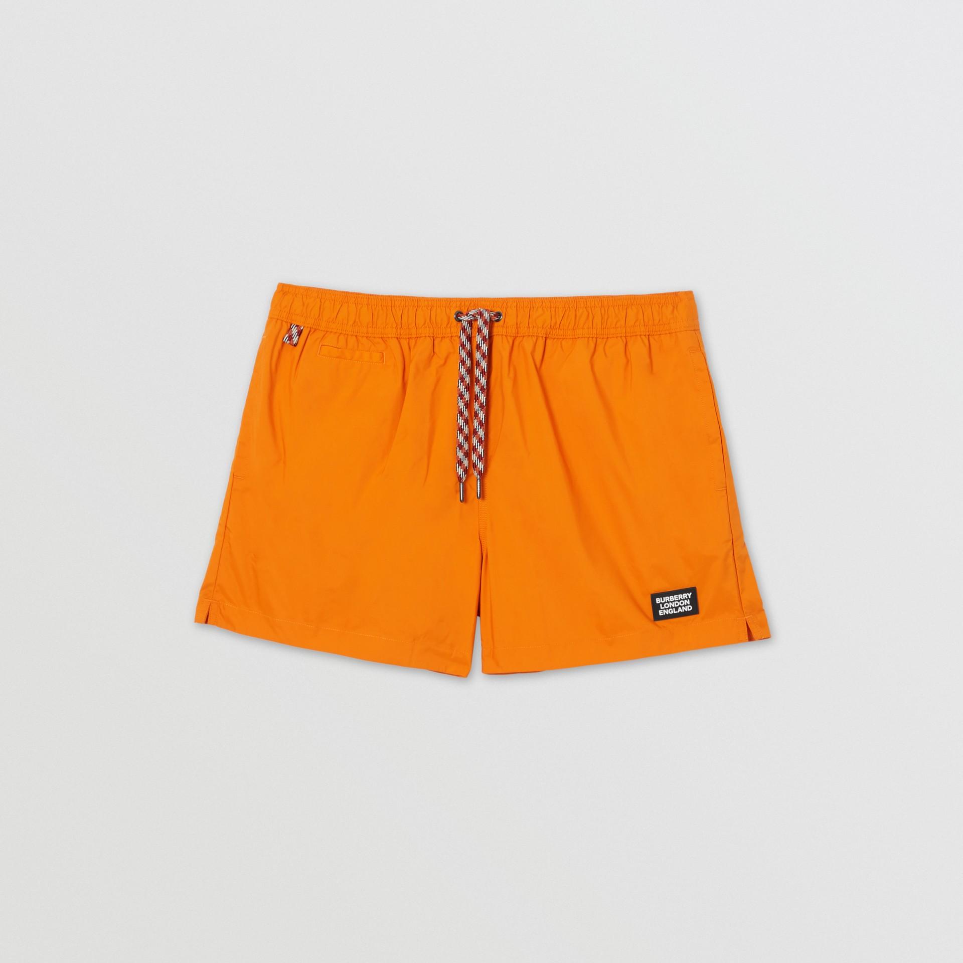 Logo Appliqué Drawcord Swim Shorts in Bright Orange - Men | Burberry United Kingdom - gallery image 2