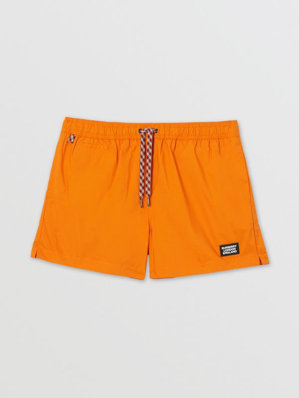 Logo Appliqué Drawcord Swim Shorts in Bright Orange - Men | Burberry - cell image 2