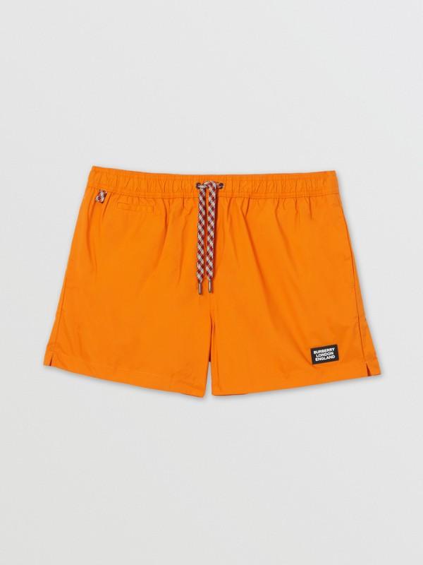 Logo Appliqué Drawcord Swim Shorts in Bright Orange - Men | Burberry United Kingdom - cell image 2