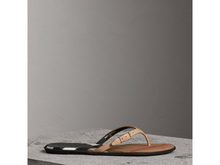 House Check and Patent Leather Sandals in Honey - Women | Burberry - cell image 4