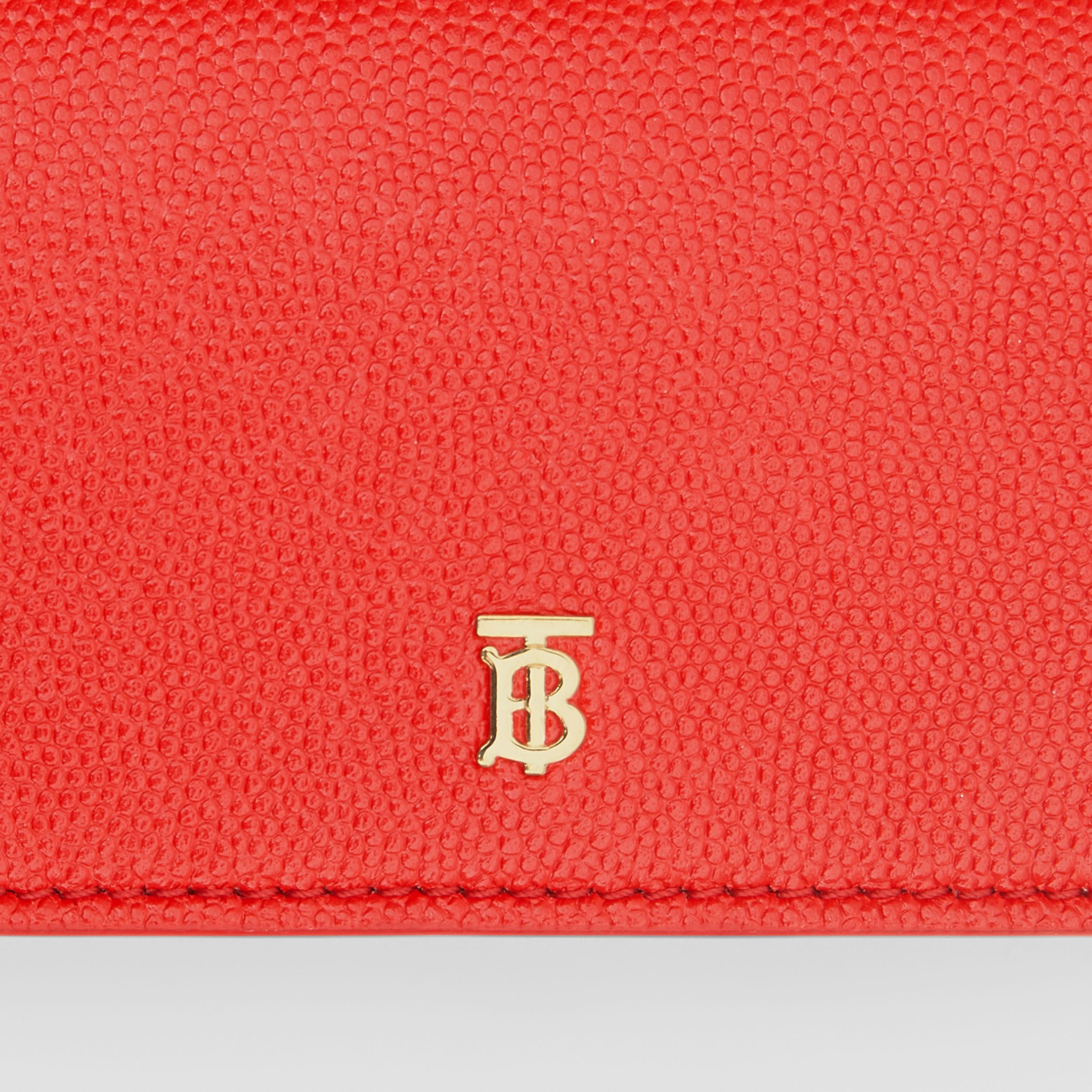 Grainy Leather Card Case with Detachable Strap in Bright Red - Women | Burberry - 2