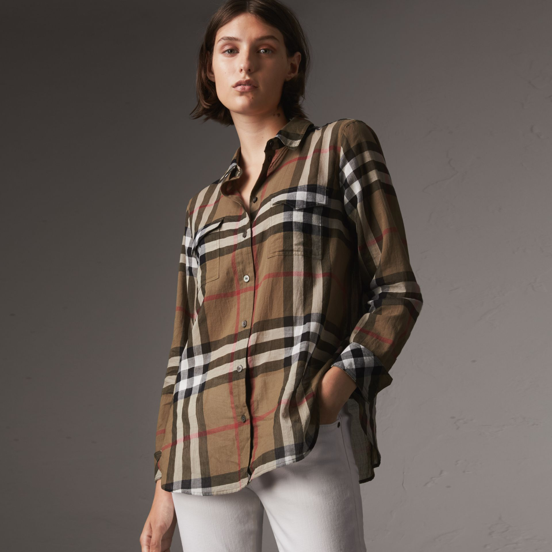 Check Cotton Shirt in Taupe Brown - Women | Burberry United Kingdom - gallery image 0