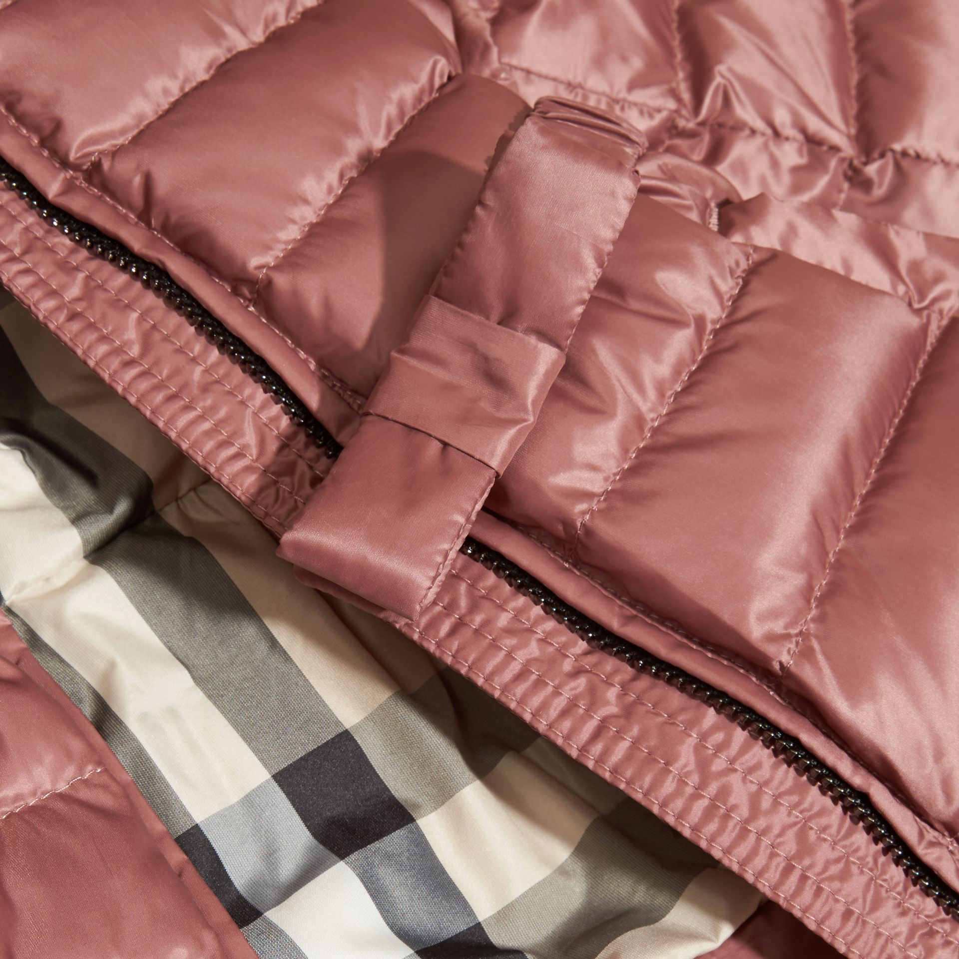 Antique rose Bow Detail Down-filled Puffer Jacket - gallery image 2