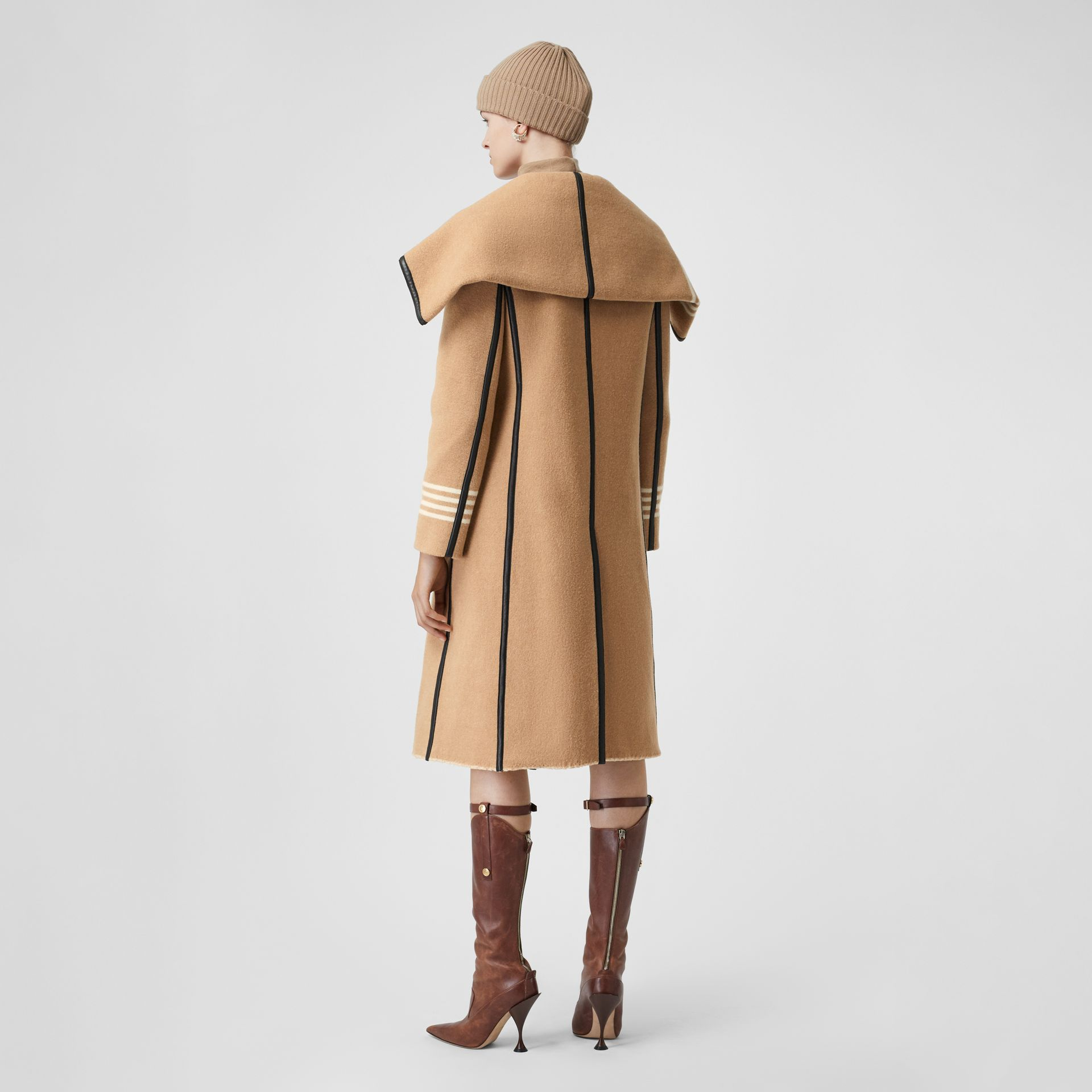Lambskin Trim Striped Wool Wrap Coat in Camel - Women | Burberry - gallery image 2