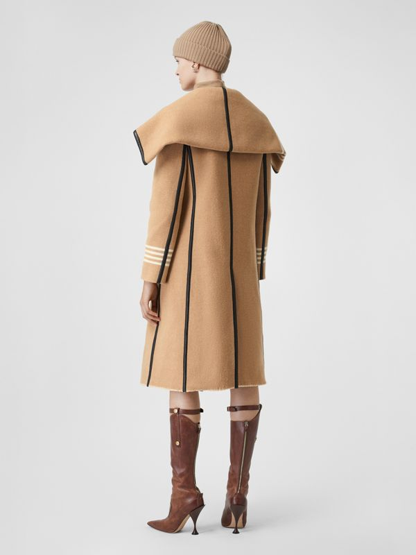 Lambskin Trim Striped Wool Wrap Coat in Camel - Women | Burberry - cell image 2