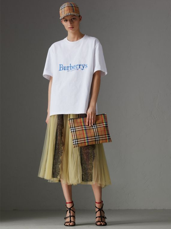 Medium Rainbow Vintage Check Pouch in Natural | Burberry United States - cell image 2