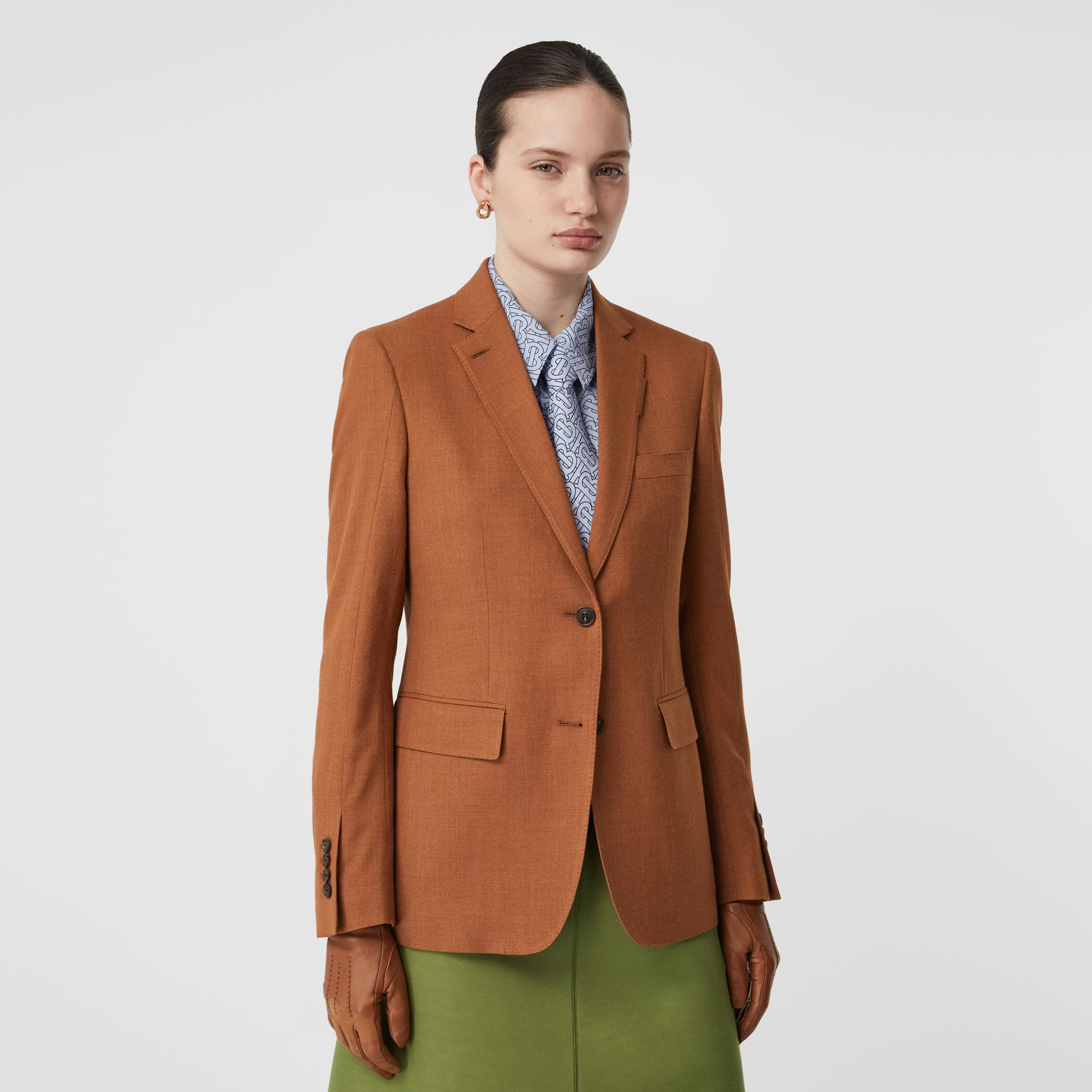 Wool, Silk and Cotton Blazer in Rust - Women | Burberry - gallery image 4