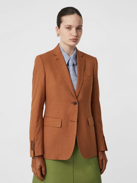 Wool, Silk and Cotton Blazer in Rust
