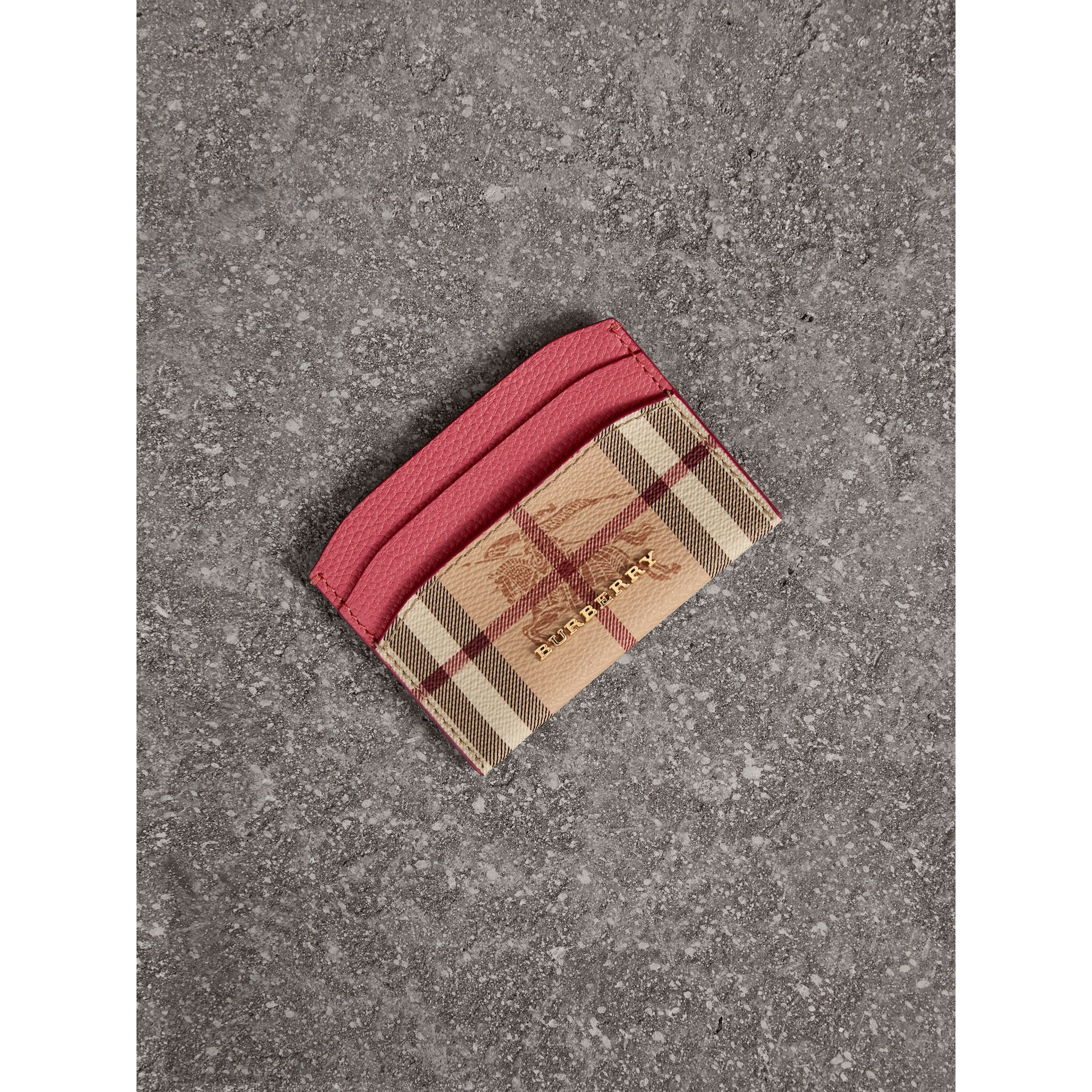 Haymarket Check and Leather Card Case in Plum Pink - Women | Burberry - gallery image 1