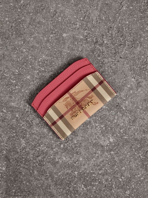 Haymarket Check and Leather Card Case in Plum Pink