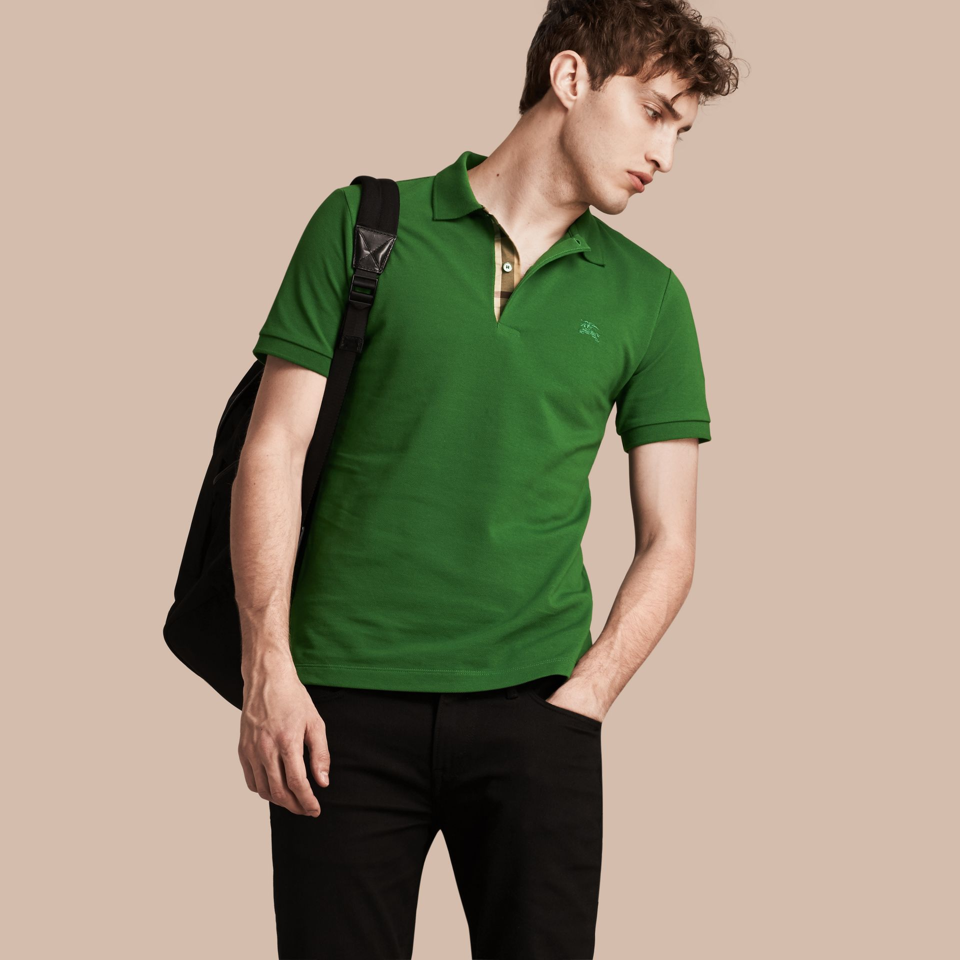 Check Placket Cotton Piqué Polo Shirt in Bright Fern Green - Men | Burberry - gallery image 1