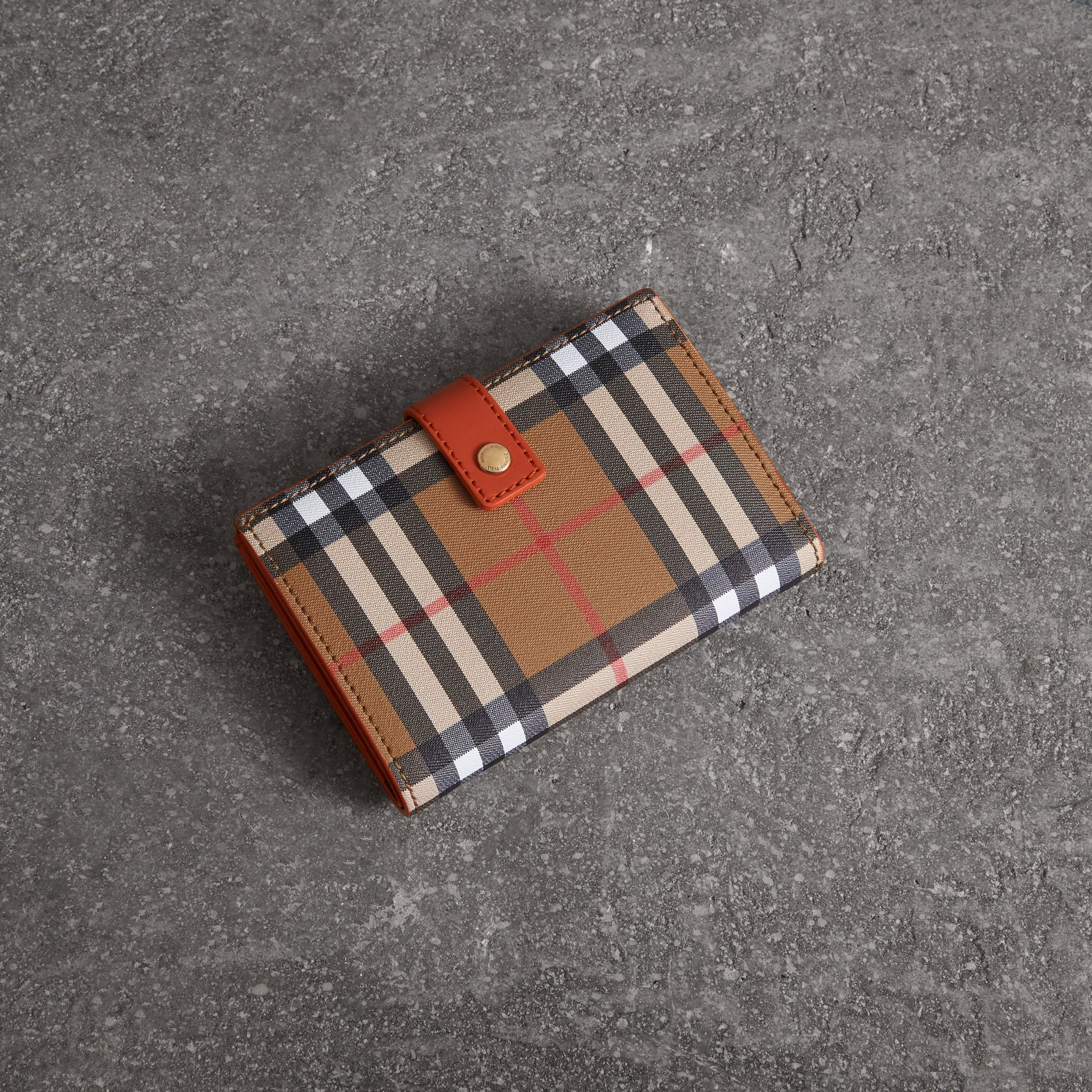Vintage Check and Leather Folding Wallet in Clementine - Women | Burberry Australia - gallery image 0