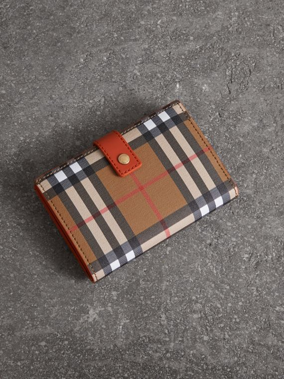 Vintage Check and Leather Folding Wallet in Clementine