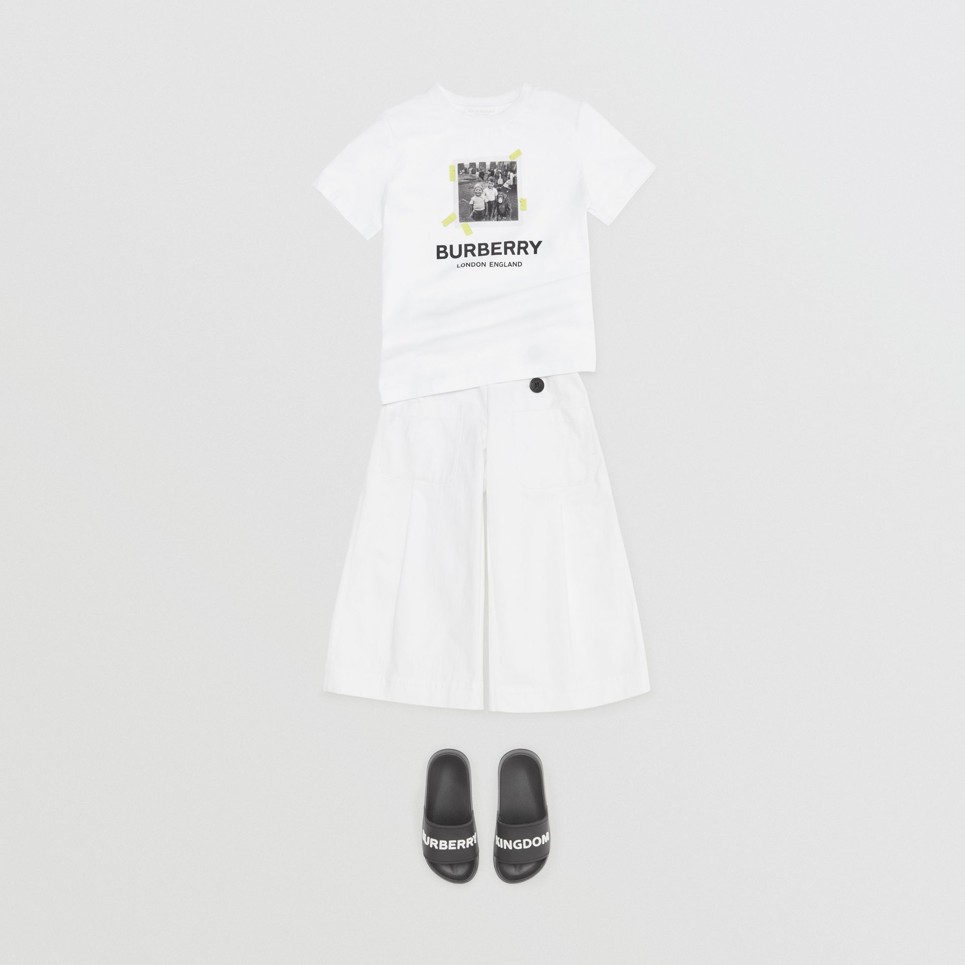 Vintage Photo Print Cotton T-Shirt in White - Children | Burberry - gallery image 3