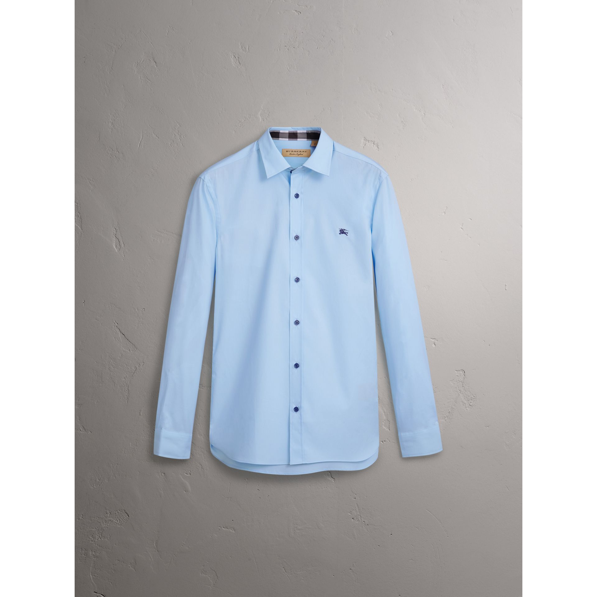 Resin Button Cotton Poplin Shirt in Pale Blue - Men | Burberry - gallery image 3