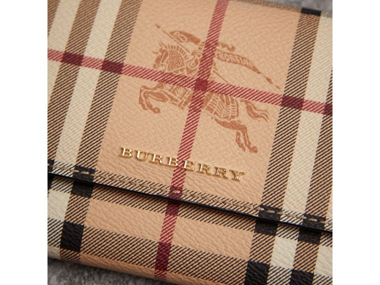 Haymarket Check and Leather Slim Continental Wallet in Black - Women | Burberry Australia - cell image 1