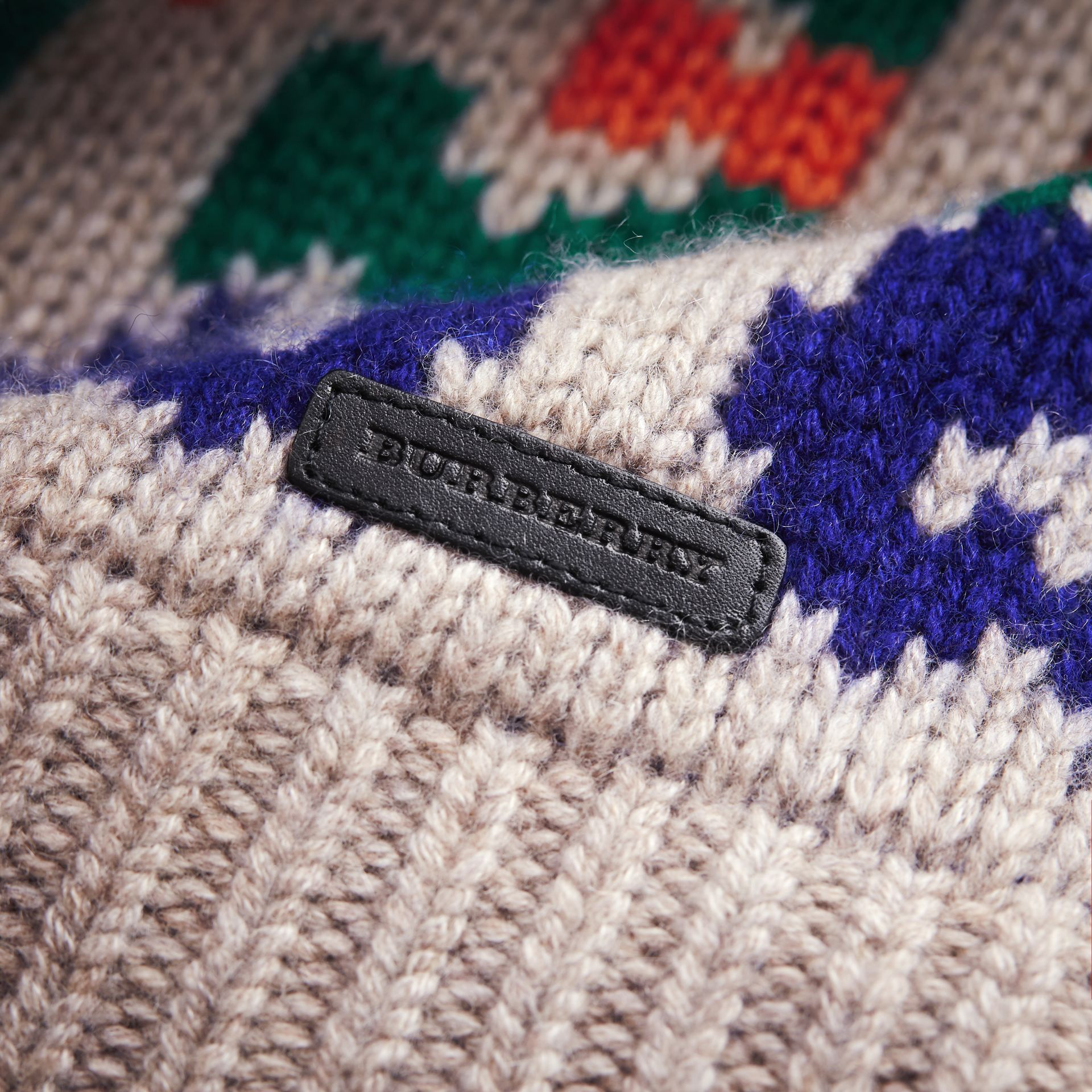 Exploded Fair Isle Wool Cashmere Sweater in Pale Cinnamon - Boy | Burberry Australia - gallery image 2