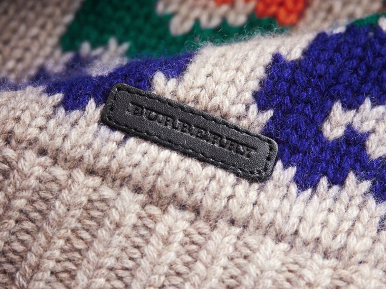Exploded Fair Isle Wool Cashmere Sweater in Pale Cinnamon - Boy | Burberry Australia - cell image 1