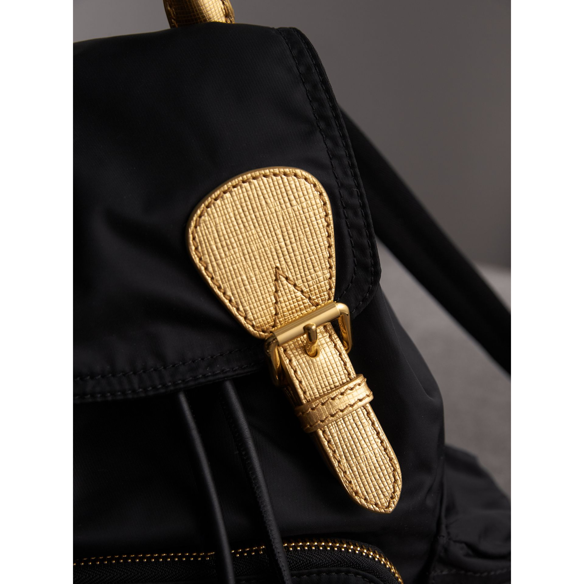 The Medium Rucksack in Two-tone Nylon and Leather in Black/gold - Women | Burberry - gallery image 6