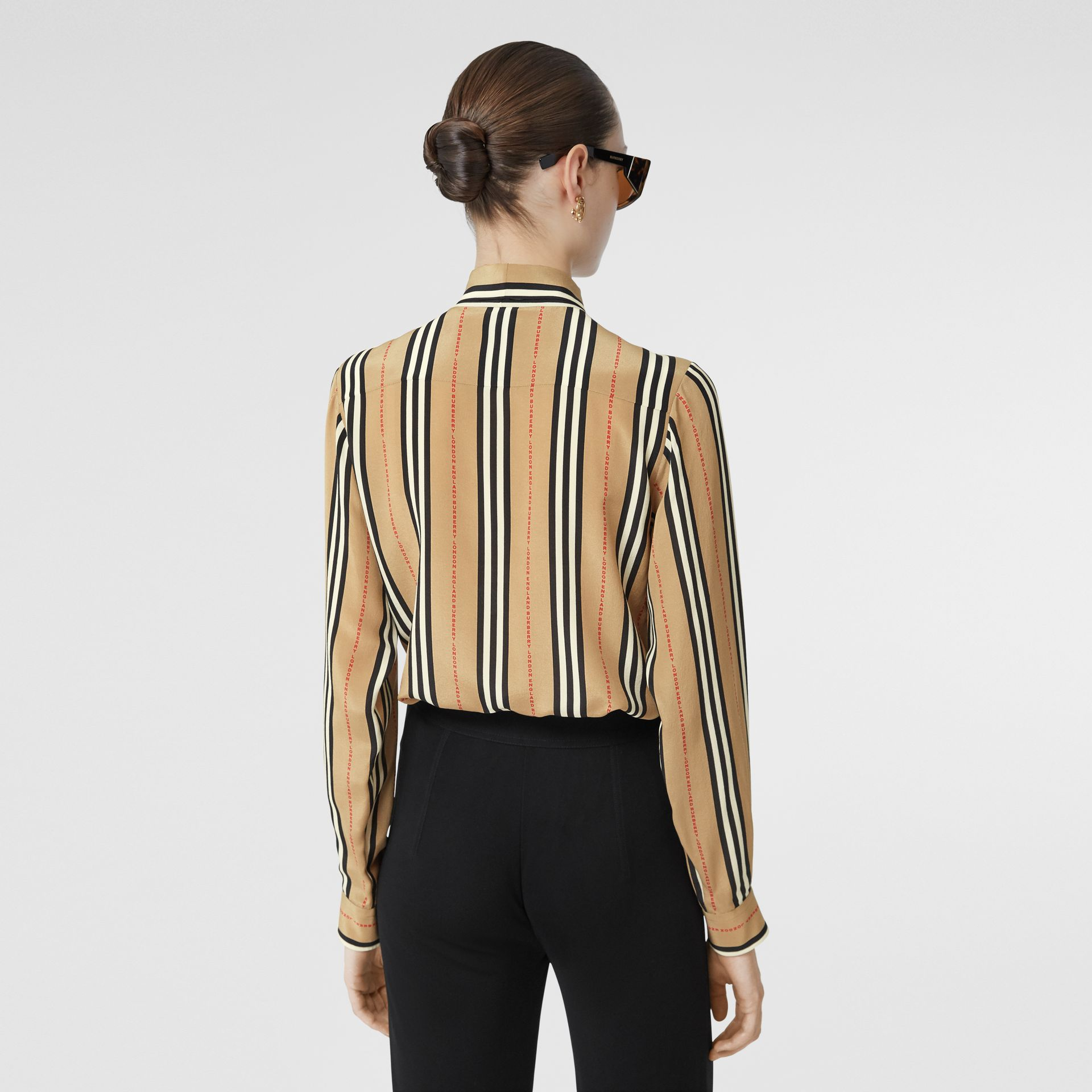 Logo Print Icon Stripe Silk Chiffon Pussy-bow Blouse in Archive Beige - Women | Burberry - gallery image 2