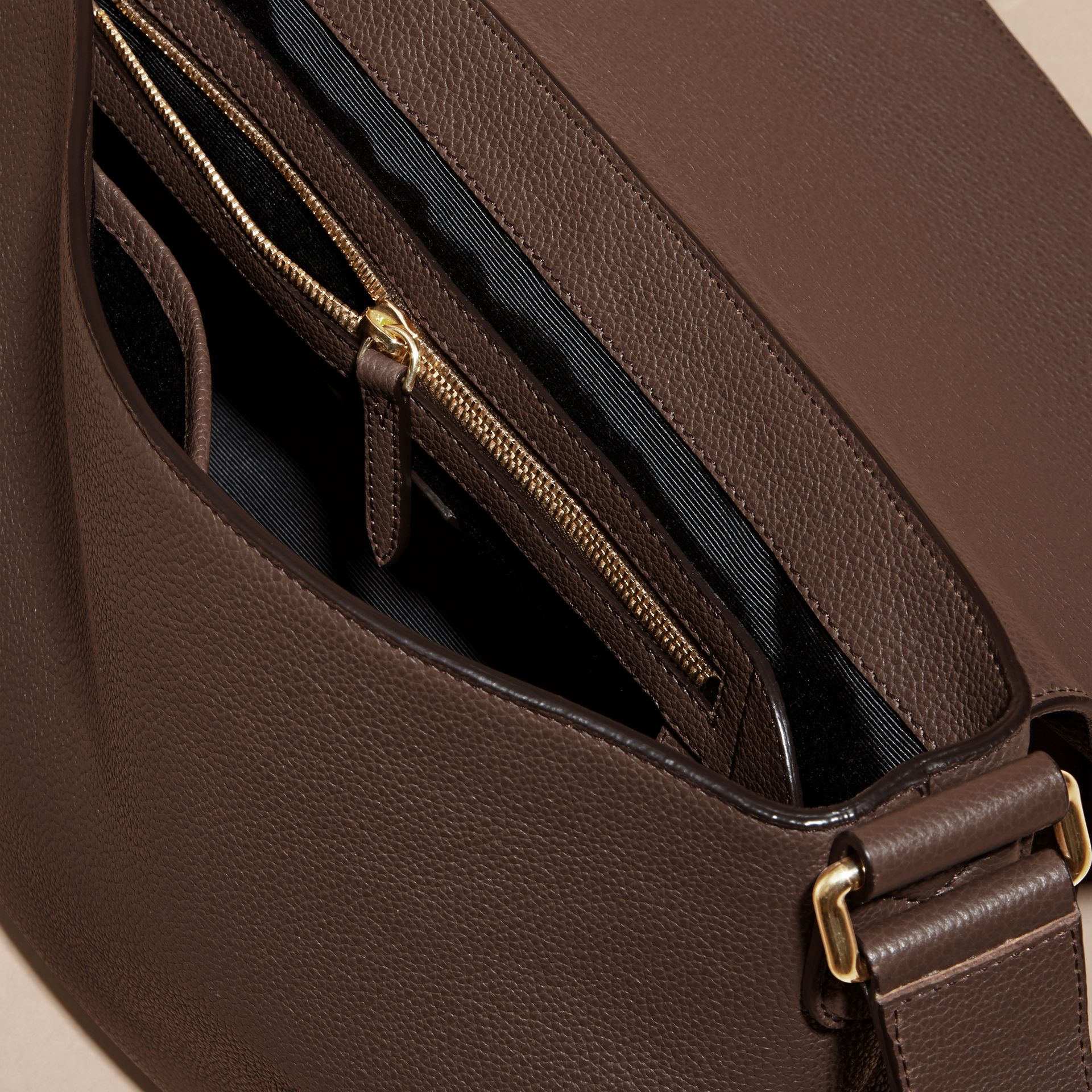 Deep taupe brown Grainy Leather Messenger Bag Deep Taupe Brown - gallery image 5