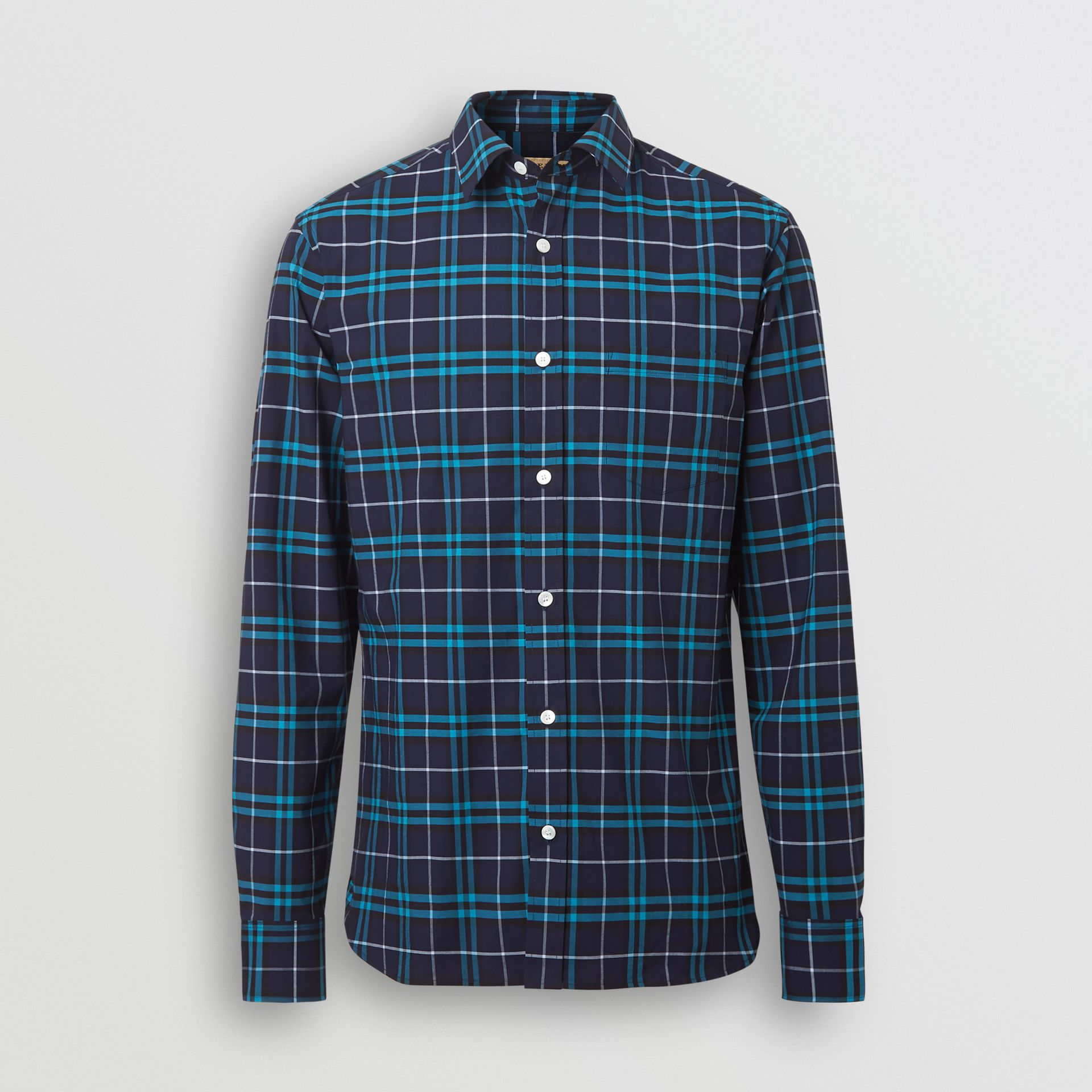 Check Stretch Cotton Shirt in Bright Navy - Men | Burberry Canada - gallery image 3