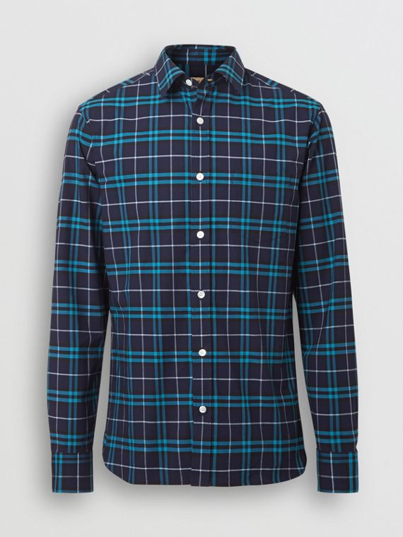 Check Stretch Cotton Shirt in Bright Navy